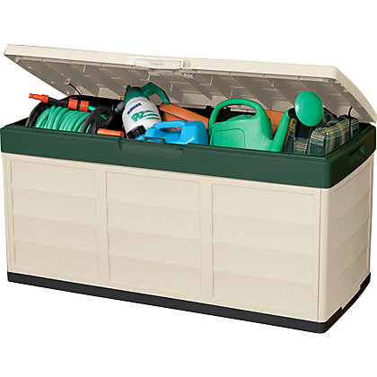 Image for Keter Pack and Go Outdoor Garden Storage Box - Beige & Green / 305L from StoreName