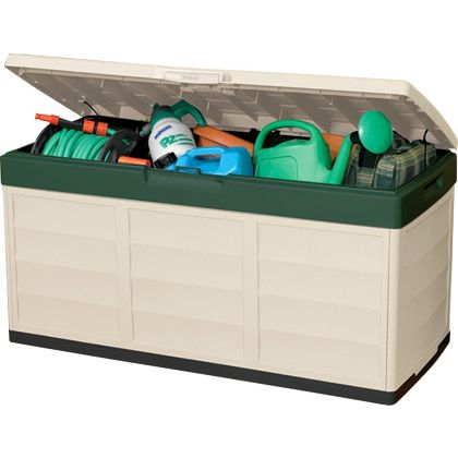 . Keter Pack and Go Outdoor Garden Storage Box   Beige   Green   305L