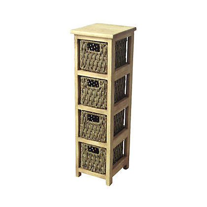 Slim 4 Drawer Storage Unit Seagrass