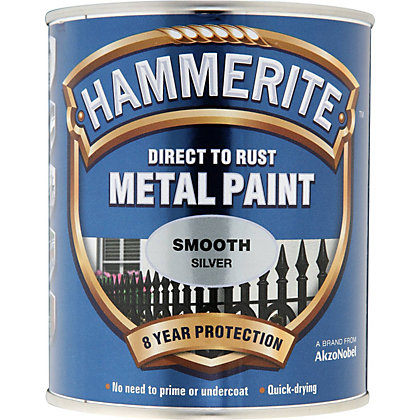 Image for Hammerite Direct To Rust Smooth Silver Metal Paint - 750ml from StoreName