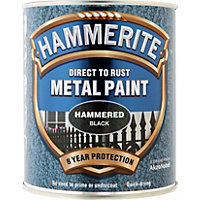 Hammerite Direct To Rust Hammered Black Metal Paint - 750ml