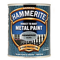 Hammerite Direct To Rust Hammered Silver Metal Paint - 750ml