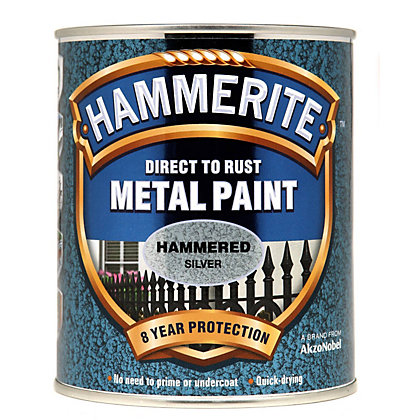 Image for Hammerite Direct To Rust Hammered Silver Metal Paint - 750ml from StoreName