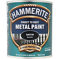 Hammerite Direct To Rust Satin Black Metal Paint - 750ml