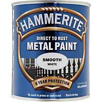 Hammerite Direct To Rust Smooth White Metal Paint - 750ml