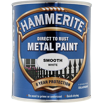 Image for Hammerite Direct To Rust Smooth White Metal Paint - 750ml from StoreName