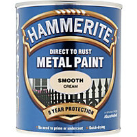 Hammerite Direct To Rust Smooth Cream Metal Paint - 750ml