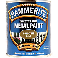 Hammerite Direct To Rust Smooth Gold Metal Paint - 750ml