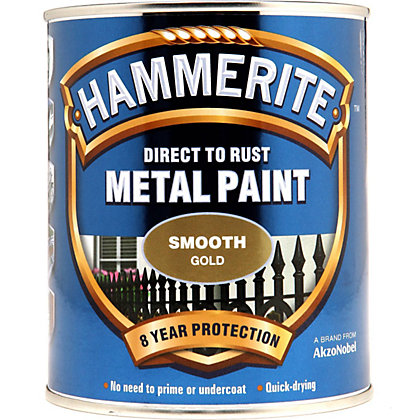 Image for Hammerite Direct To Rust Smooth Gold Metal Paint - 750ml from StoreName