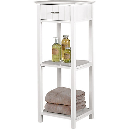 homebase bathroom shelves two tier shelf unit and drawer white 8867