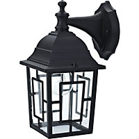 Lesley Outdoor Wall Lantern - Black with Tapered Glass