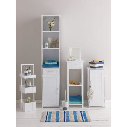 Freestanding Tongue Groove Bathroom Cabinet White
