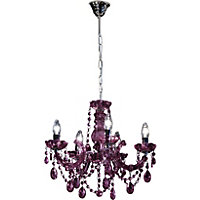 Inspire Chandelier 5 Light Ceiling Fitting - Blackcurrant.