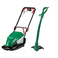 Qualcast 1600W Electric Hover Lawn Mower and 350w Trimmer Set