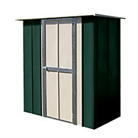 Canberra Green Metal Flar Roof Garden Utility Shed - 6x3ft