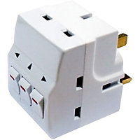 Homebase 13A 3 Way Individually Switched Adaptor - White