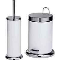 white bathroom bin colourmatch bathroom bin and toilet brush set white 15048