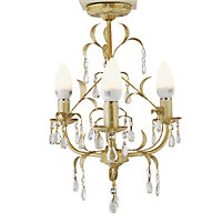 Gemini - 3 Light Ceiling Fitting - Cream/Gold