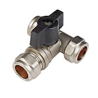 Isolation Tee Valve with On Off Handle Compression Fitting - 15mm