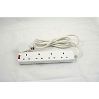 Extension Lead With Neon Indicator - 4 Socket - 2 Metres